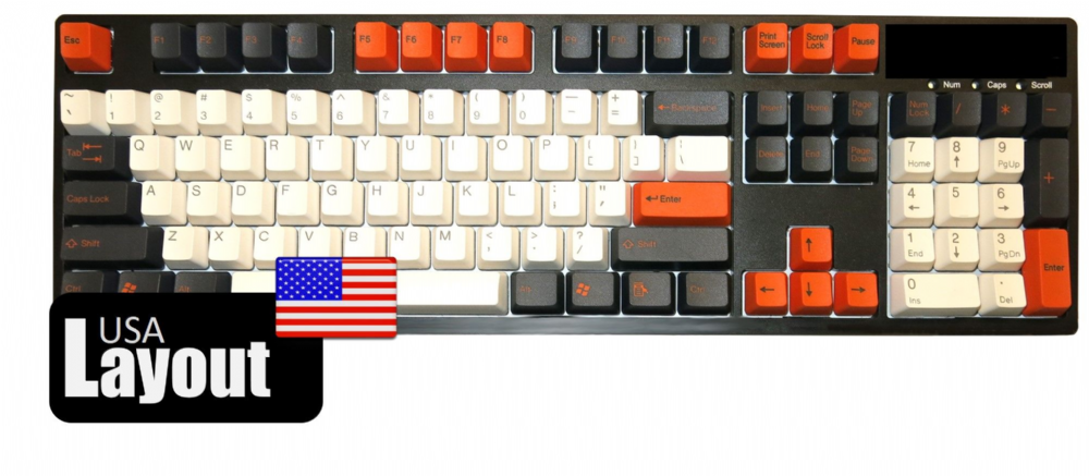Tai-Hao ABS Double Shot Keycaps Carbon/White/Orange USA